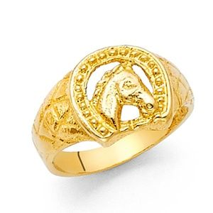 Jewelry - 14k yellow gold nugget horse shoe Ring band